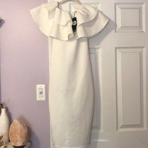 Boohoo white midi dress
